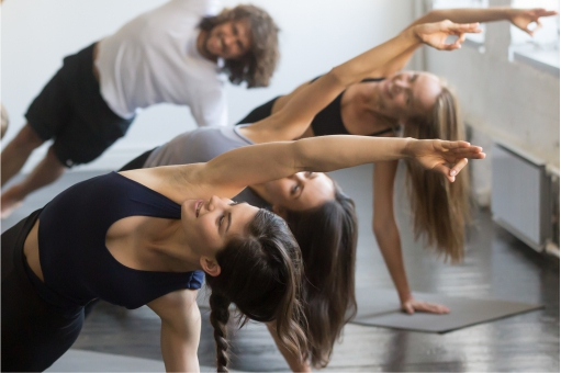Group of people taking part in an exercise class
